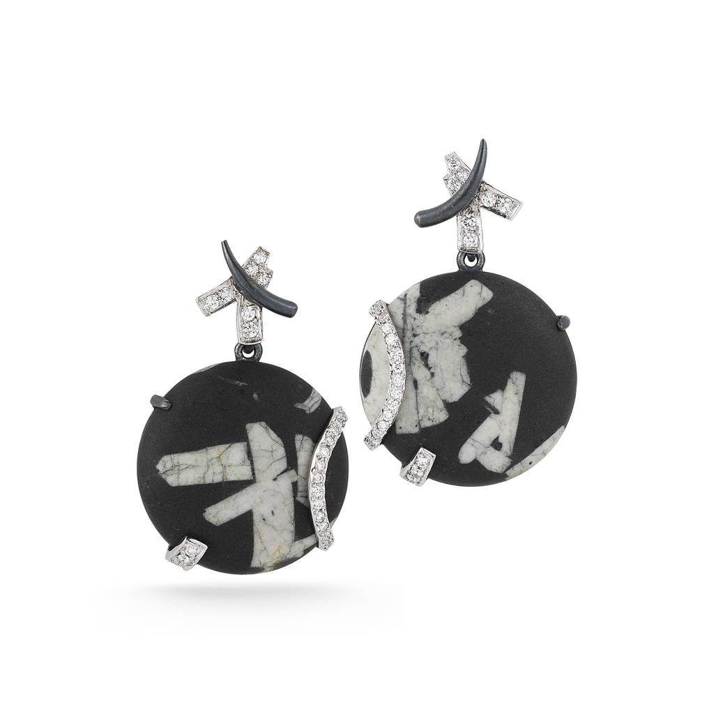 Round Chinese Writing Stone and Diamond Earrings by Diana Vincent