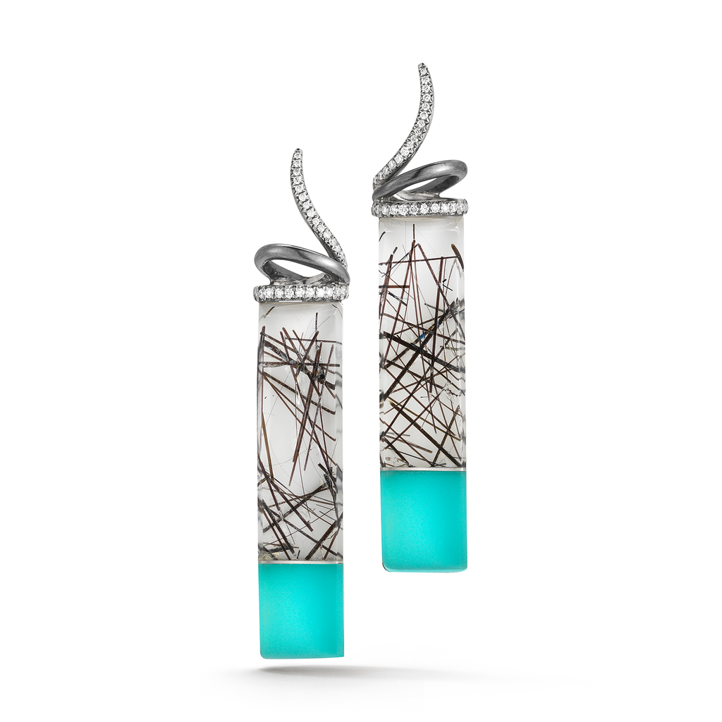 Carved Tourmaline Quartz, Turquoise, Rock Crystal and Diamond Earrings by Diana Vincent