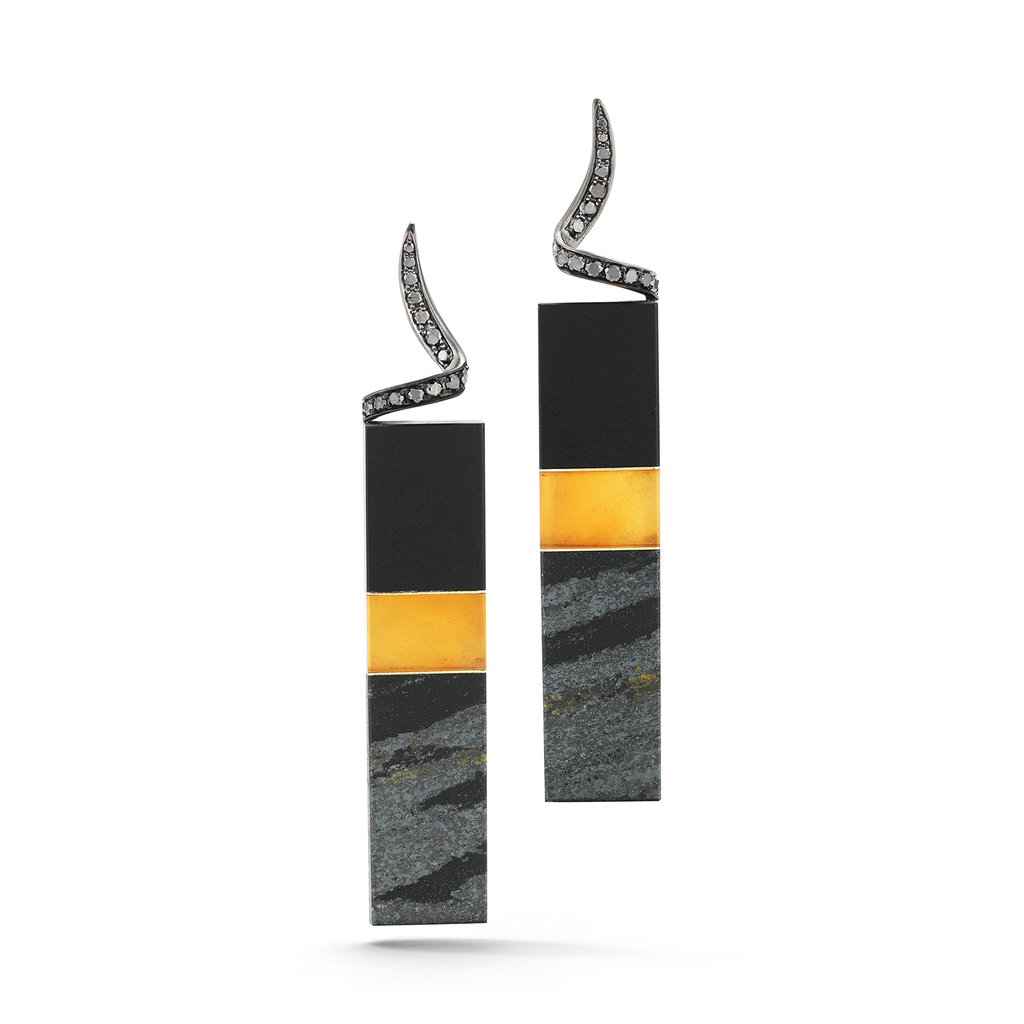 Carved Black Jade, Citrine, Hematite with Black Diamond Earrings by Diana Vincent