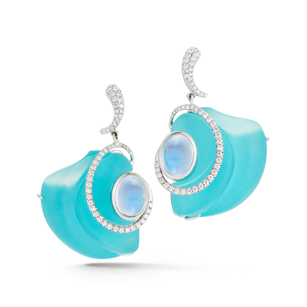 Carved Turquoise, Rock Crystal, Moonstone Gemstones and Diamond Earrings by Diana Vincent