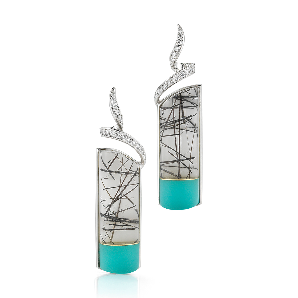 Carved Tourmaline Quartz, Turquoise, Rock Crystal and Diamond Twirl Earrings by Diana Vincent