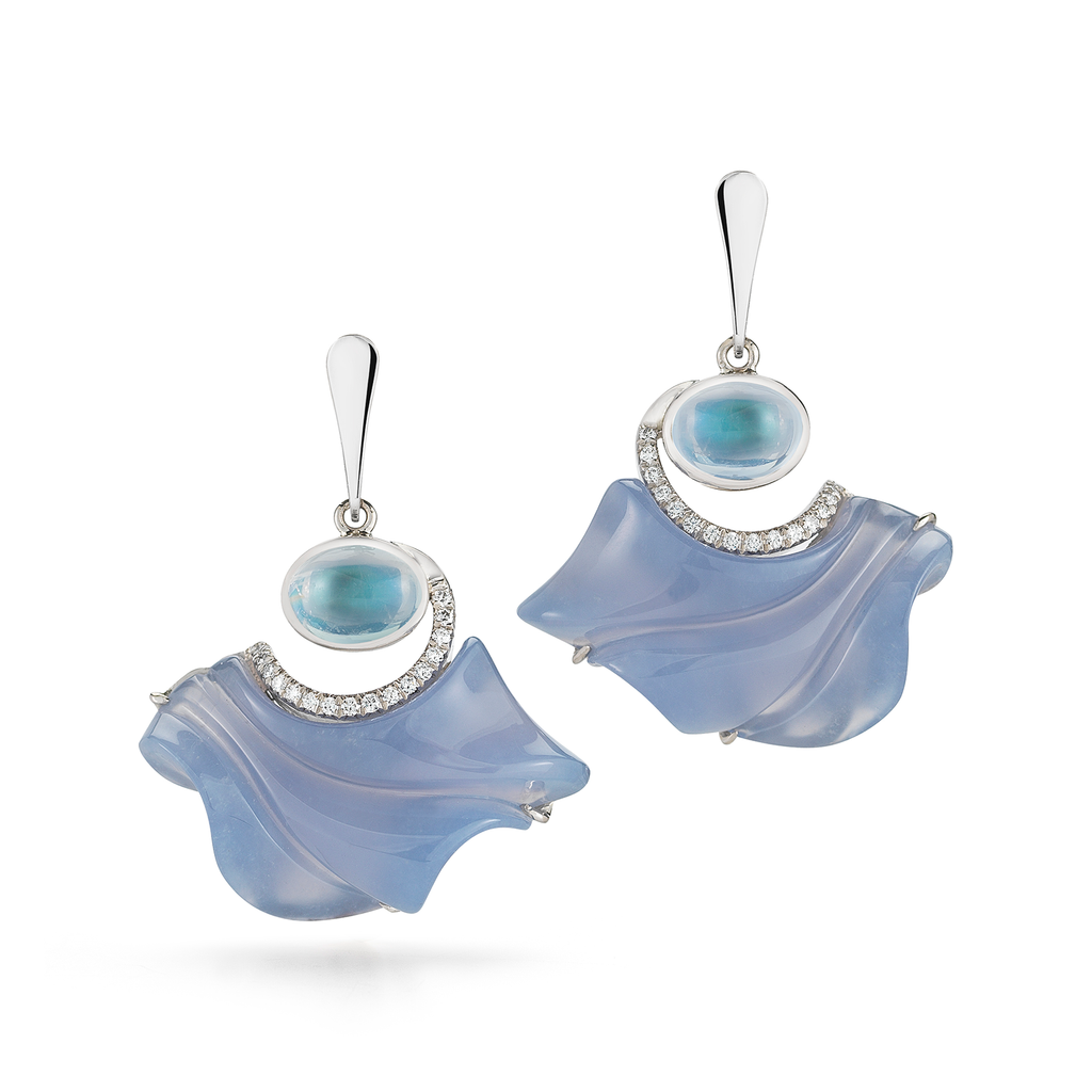 Carved Blue Chalcedony, Moonstone and Diamond Floating Earrings by Diana Vincent