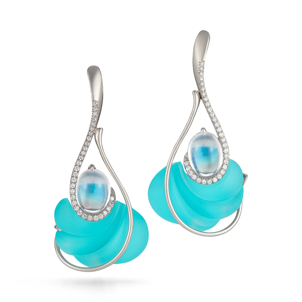 Carved Turquoise, Rock Crystal, Moonstone Gemstone and Diamond Drop Earrings by Diana Vincent