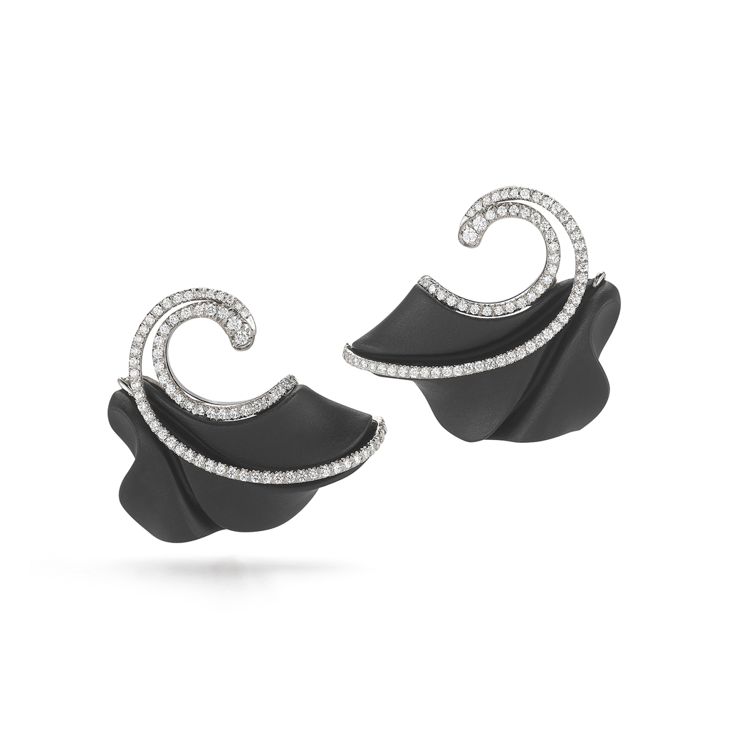 Carved Black Onyx and Diamond Swell Earrings by Diana Vincent