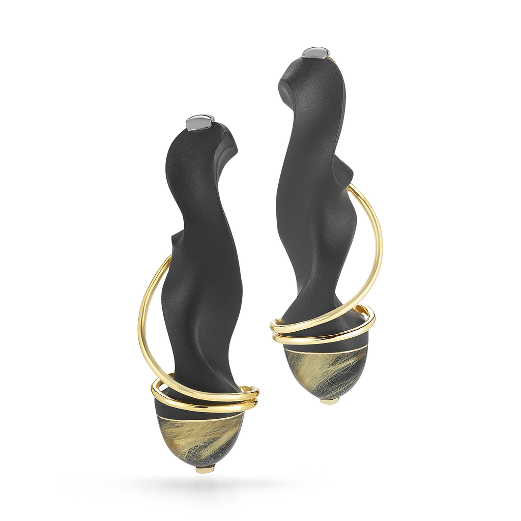 Carved Black Jade and Rutilated Quartz Earrings by Diana Vincent