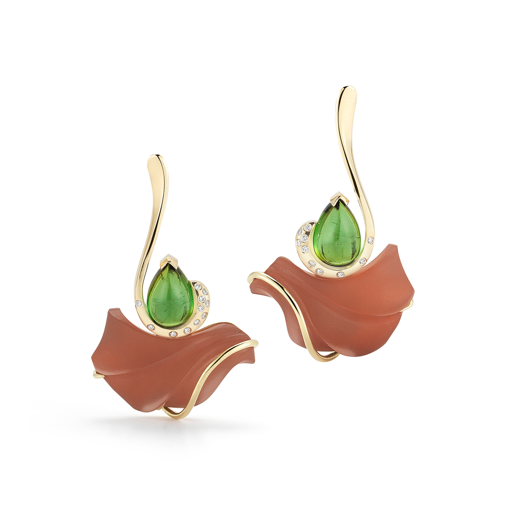 Carved Green Tourmaline, Red Jasper, Rock Crystal and Diamond Earrings by Diana Vincent