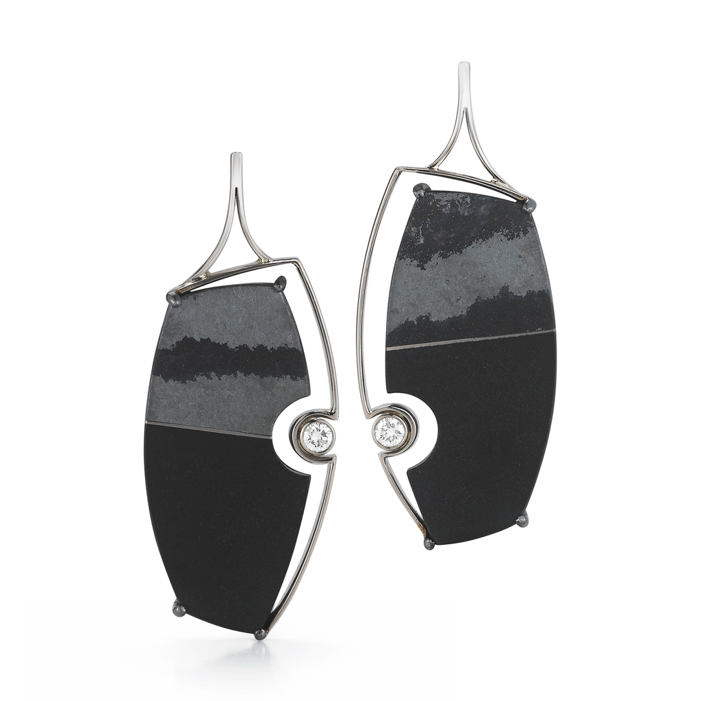 Carved Black Tourmaline, Hematite And Diamond Earrings by Diana Vincent