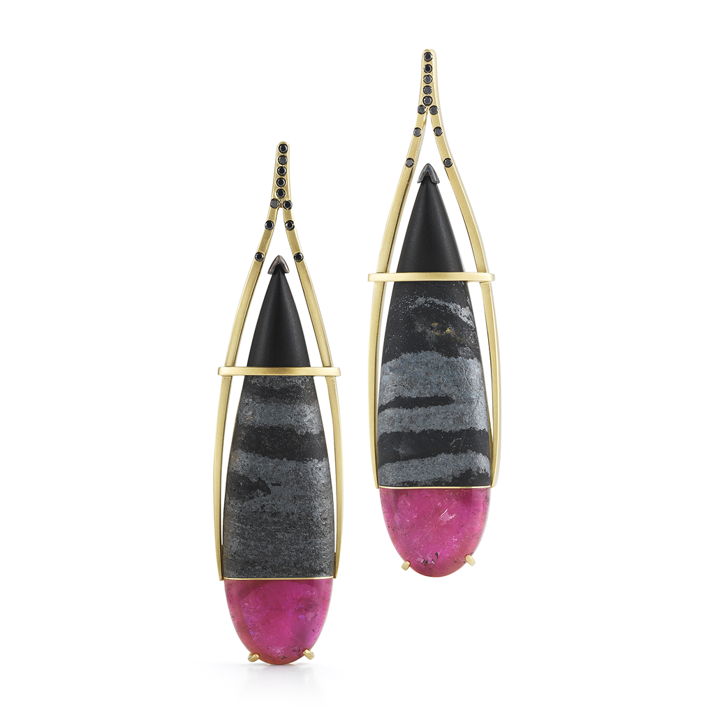 Pink Long Tourmaline, Hematite, Black Jade and Black Diamond Earrings by Diana Vincent