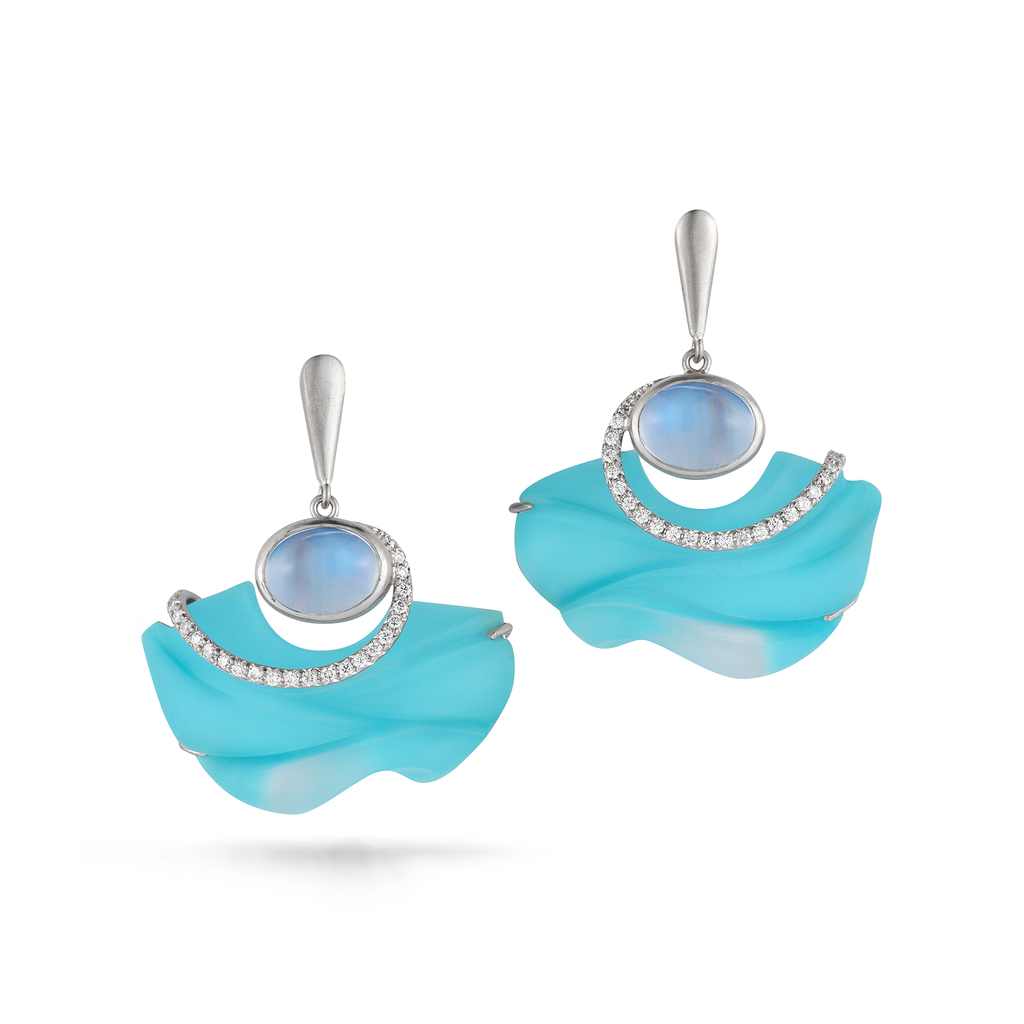 Carved Turquoise, Rock Crystal, Moonstone Gemstone and Diamond Floating Earrings by Diana Vincent