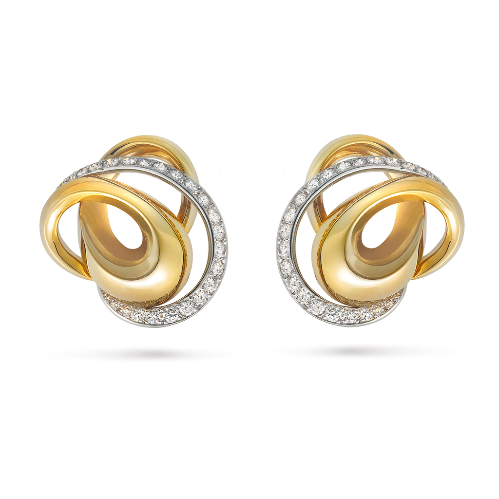 Signature Diamond Pave, Platinum and Yellow Gold Swirl Earrings by Diana Vincent