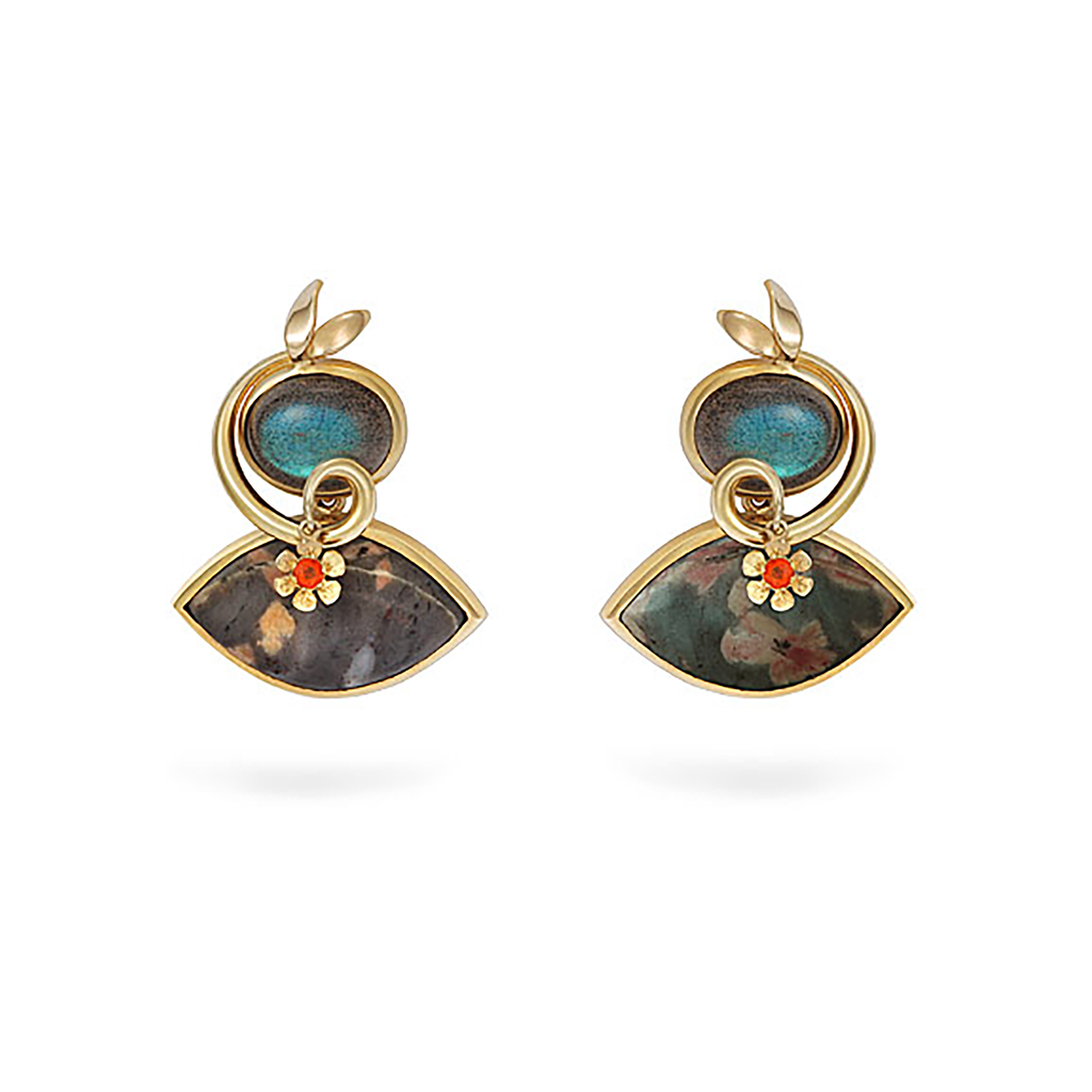 Serpentine, Labradorite and Mexican Opal Earrings by Diana Vincent