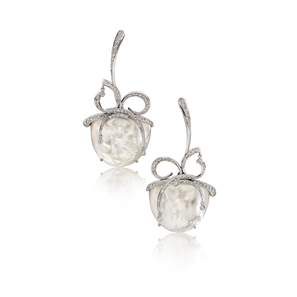 """Ice"" Mother of Pearl and Diamond Nature Inspired Earrings by Diana Vincent"