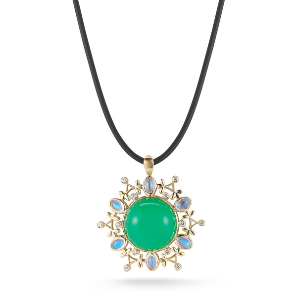 Chrysoprase, Moonstone and Diamond Mandala Pendant Necklace by Diana Vincent