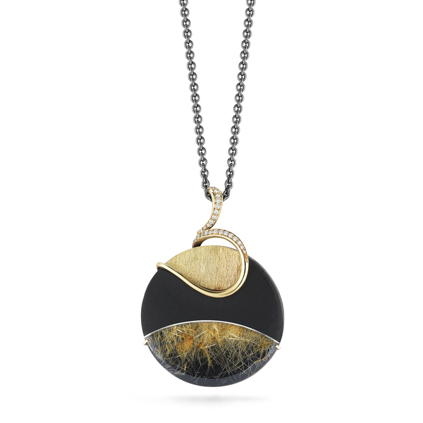 Carved Rutilated Quartz, Black Tourmaline and Diamond Pendant Necklace by Diana Vincent