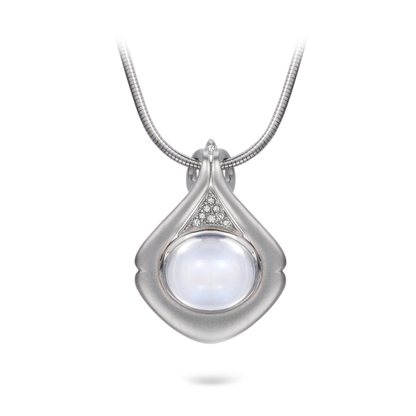Moonstone Gemstone and Diamond Drop Pendant Necklace by Diana Vincent
