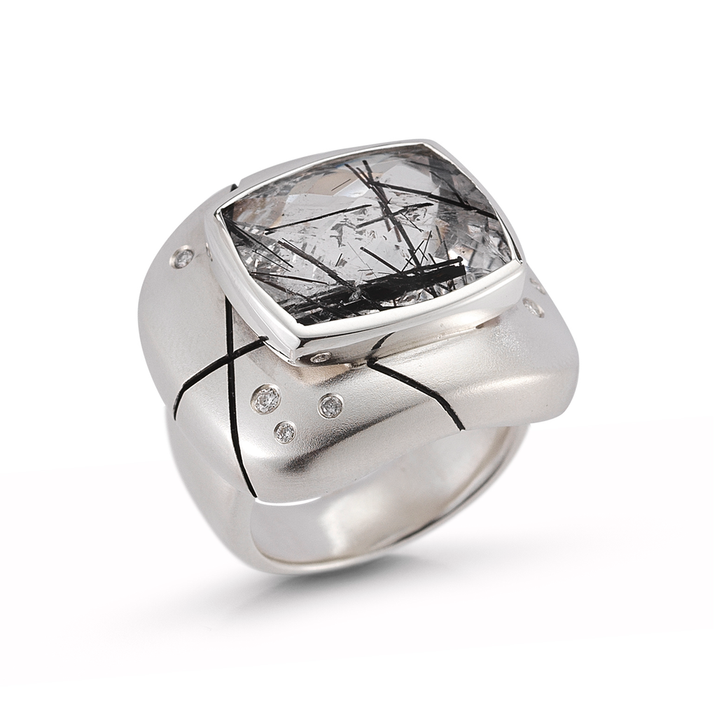Large Tourmalinated Quartz and Diamond Ring by Diana Vincent