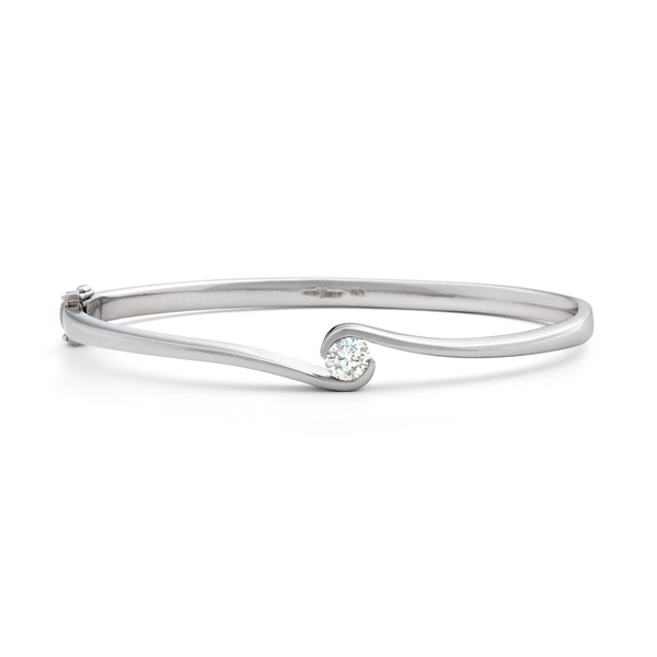 Contour Diamond and White Gold Hinge Bracelet by Diana Vincent