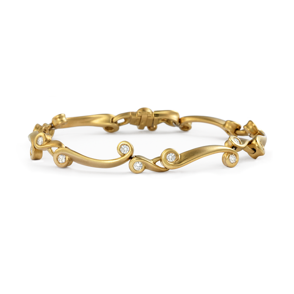 Contour Diamond and Yellow Gold Link Bracelet by Diana Vincent