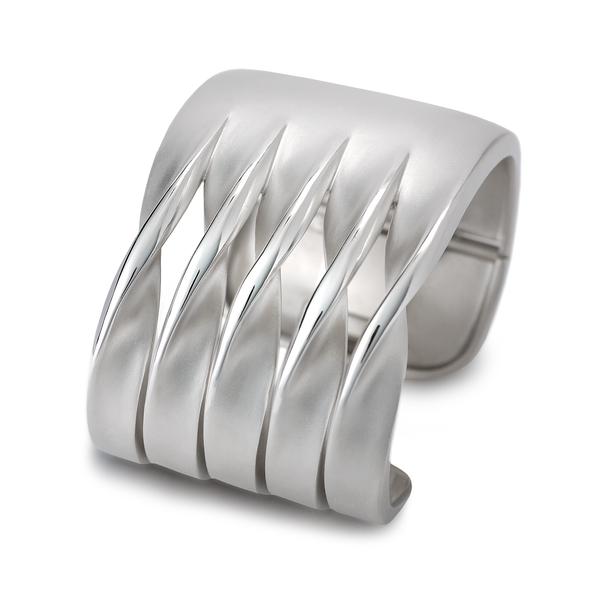 On the Edge White Gold Curves Cuff Bracelet by Diana Vincent