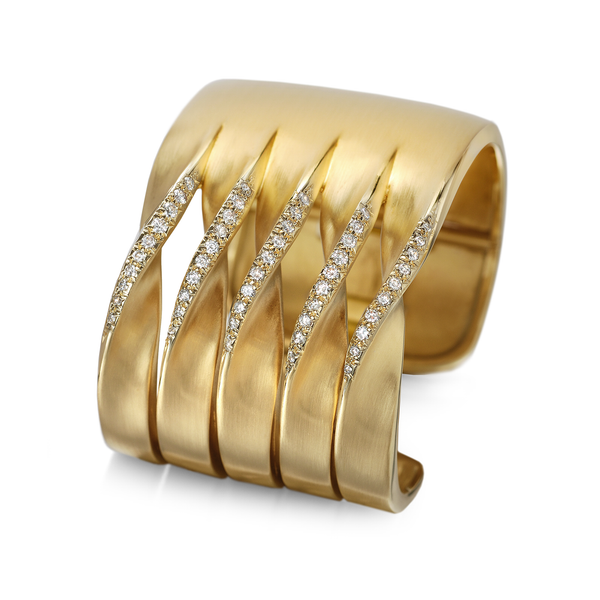 On the Edge Micro Pave Diamonds and Yellow Gold Curves Design Cuff Bracelet by Diana Vincent