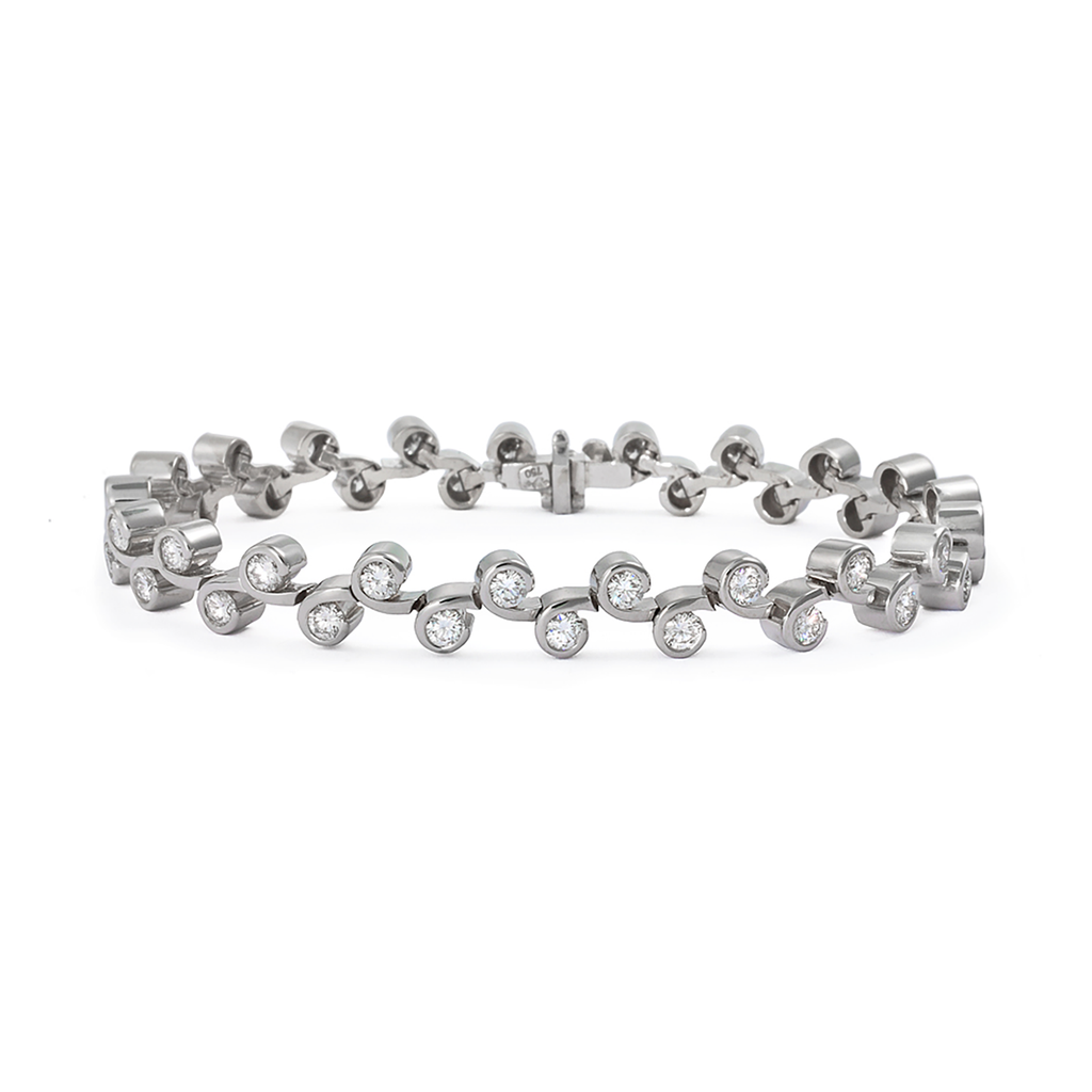 Contour Diamond and White Gold Tennis Link Bracelet by Diana Vincent