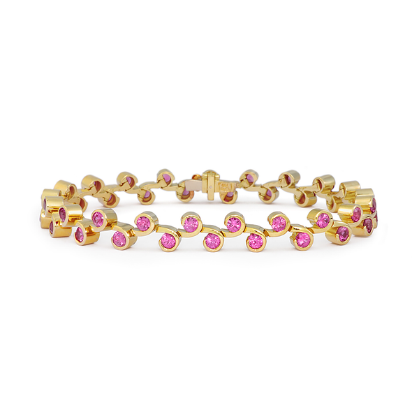Contour Pink Sapphire and Yellow Gold Link Bracelet by Diana Vincent