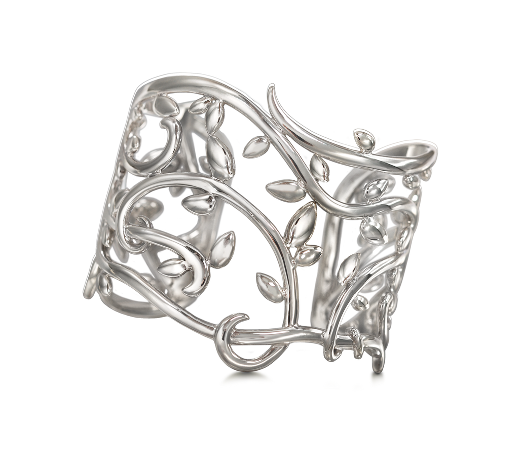 Leaf Vines Nature Designer Cuff Bracelet in Sterling Silver by Diana Vincent