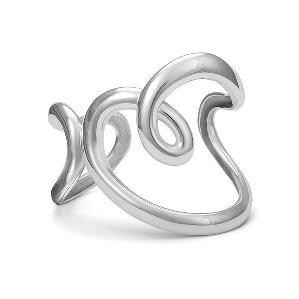 Heart Design Cuff Bracelet in Sterling Silver by Diana Vincent