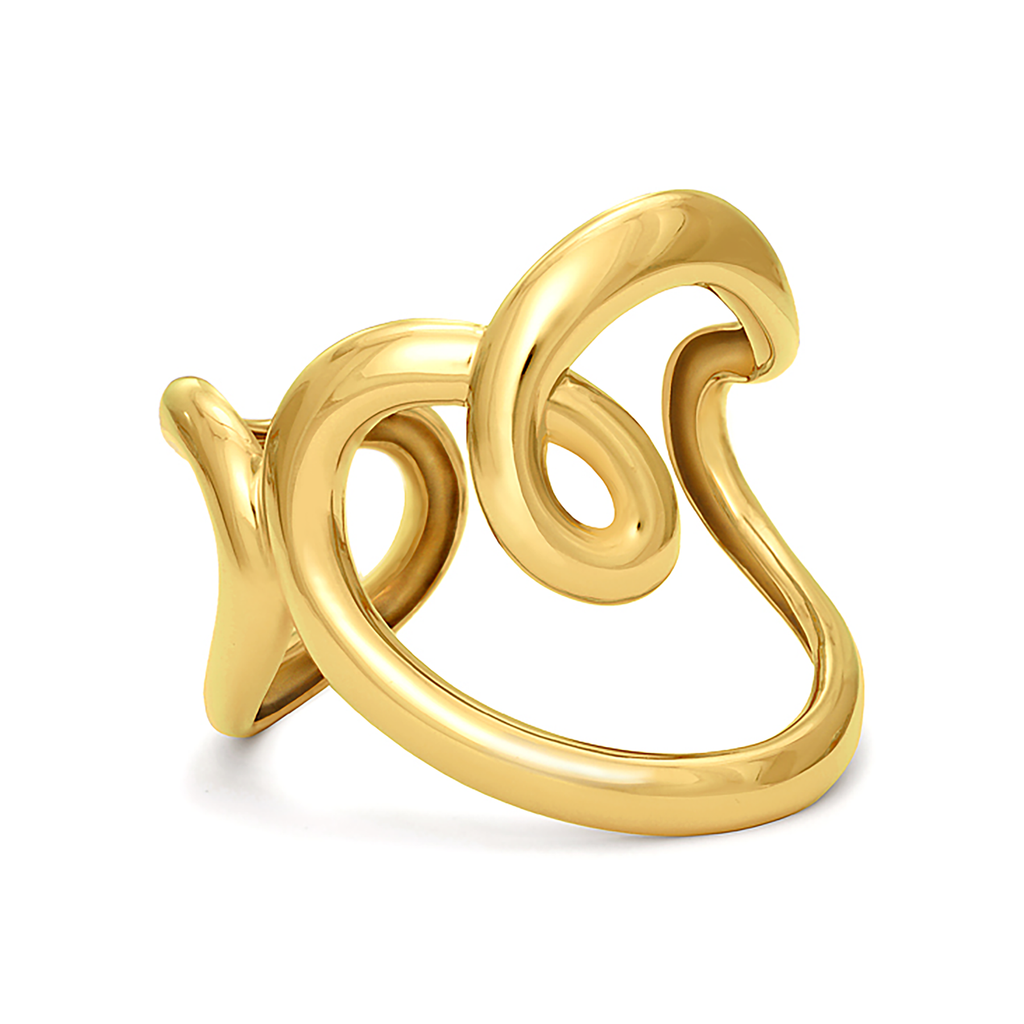 Heart Design Cuff Bracelet in Yellow Gold by Diana Vincent