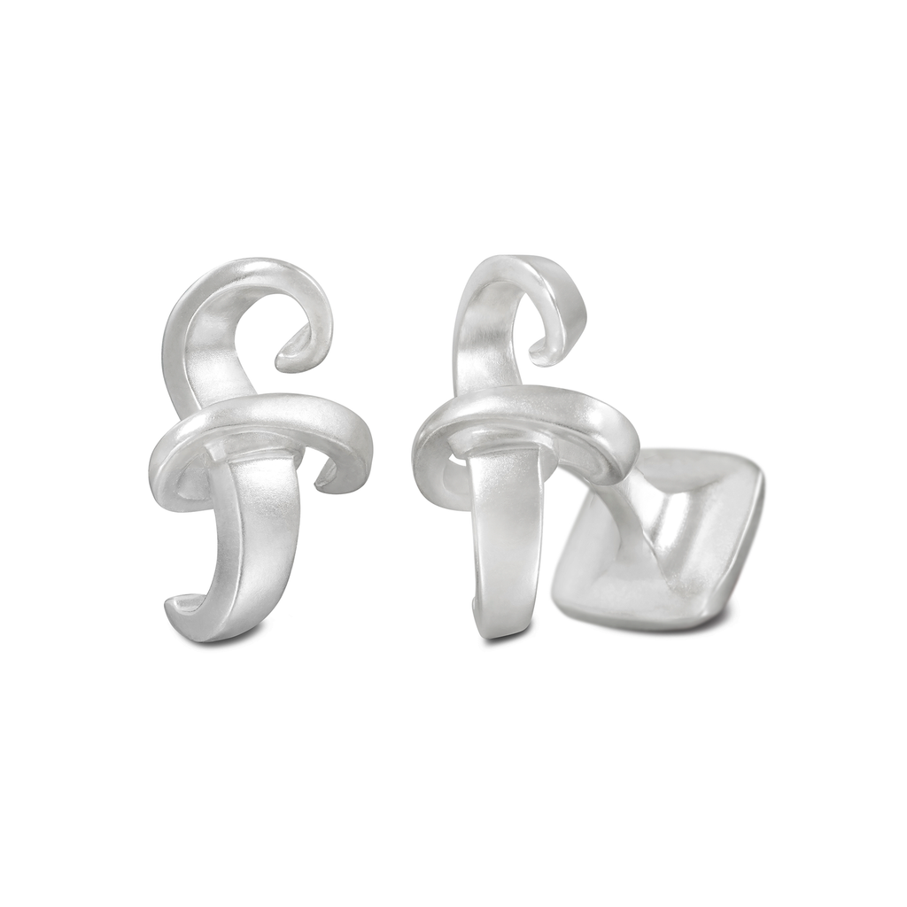 Signature Sterling Silver or Gold Men's Cufflink Letter F