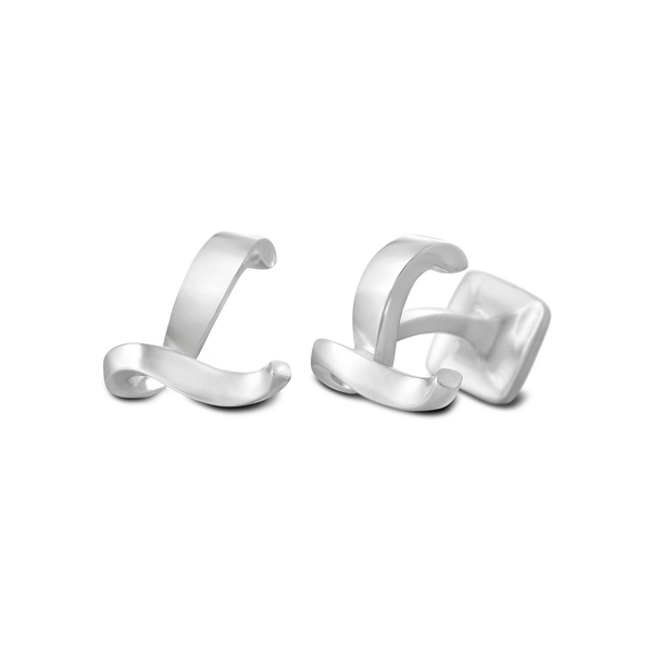 Diana Vincent Signature Sterling Silver Cuff Link with Mist Finish (Letter L)