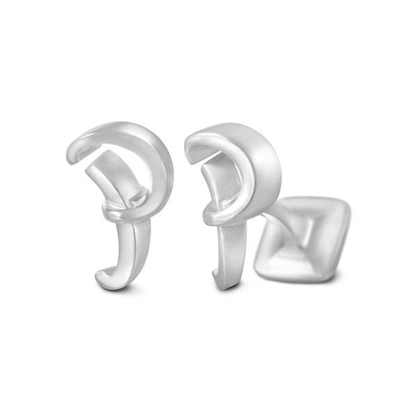 Diana Vincent Signature Sterling Silver Cuff Link with Mist Finish (Letter P)