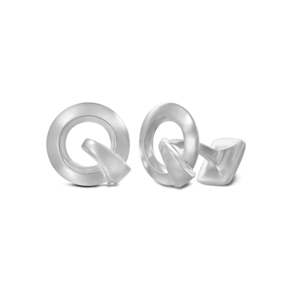 Diana Vincent Signature Sterling Silver Cuff Link with Mist Finish (Letter Q)