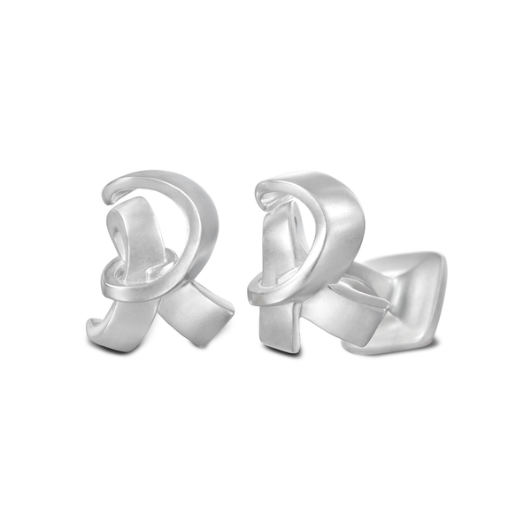 Diana Vincent Signature Sterling Silver Cuff Link with Mist Finish (Letter R)