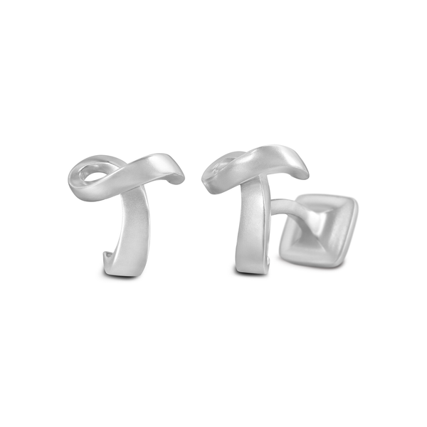 Diana Vincent Signature Sterling Silver Cuff Link with Mist Finish (Letter T)