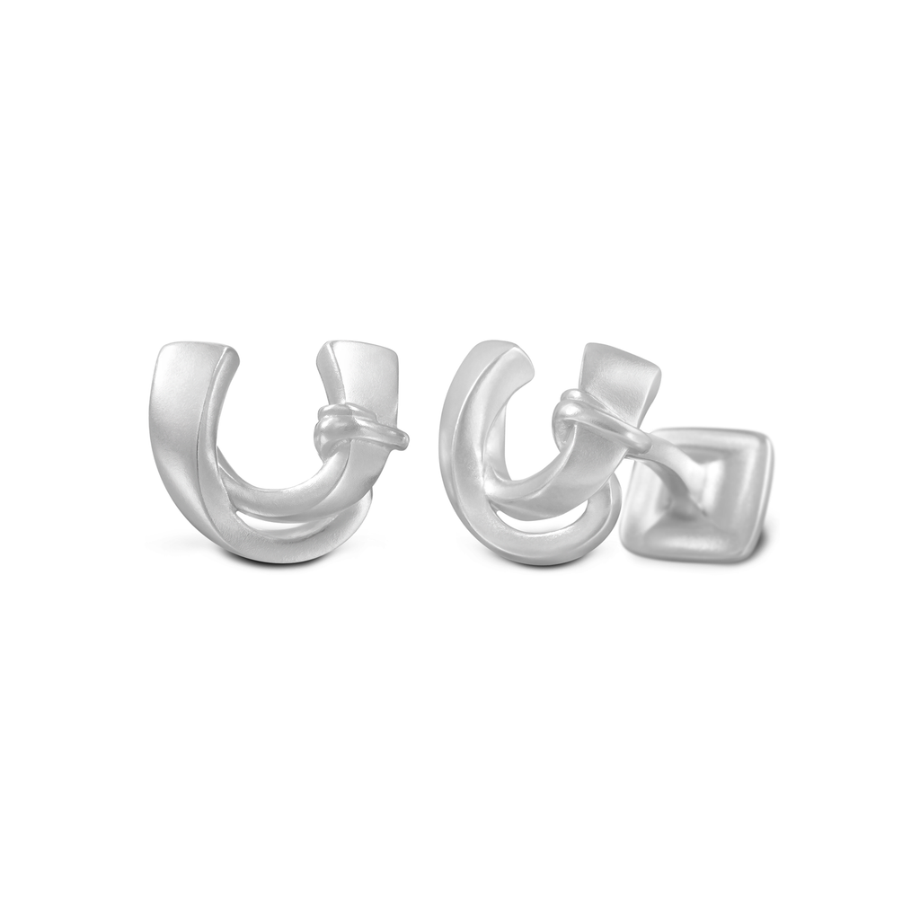 Signature Sterling Silver Cuff Link in Mist Finish (Letter U)