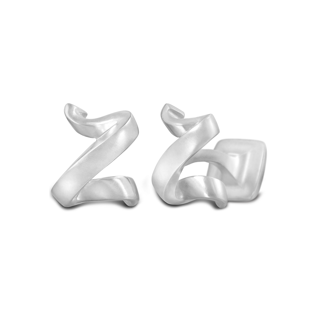 Signature Sterling Silver Cuff Link In Mist Finish Letter Z