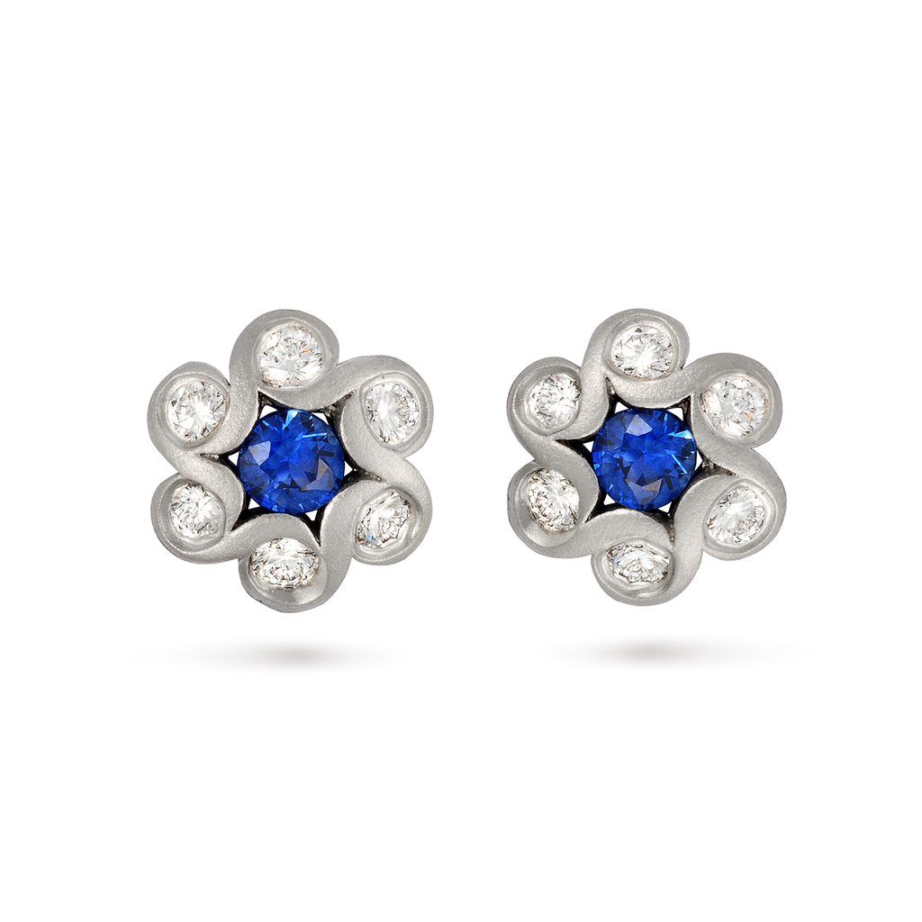 Contour Blue Sapphire and Diamond Flower Earrings by Diana Vincent