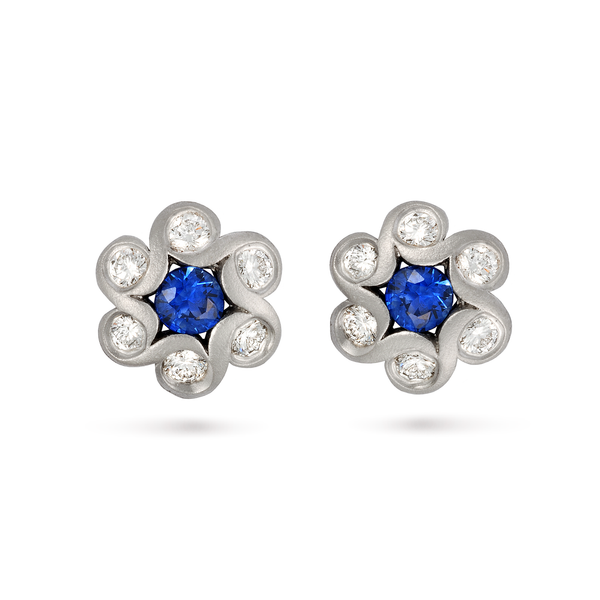 Contour Blue Sapphire and Diamond Floret Earrings