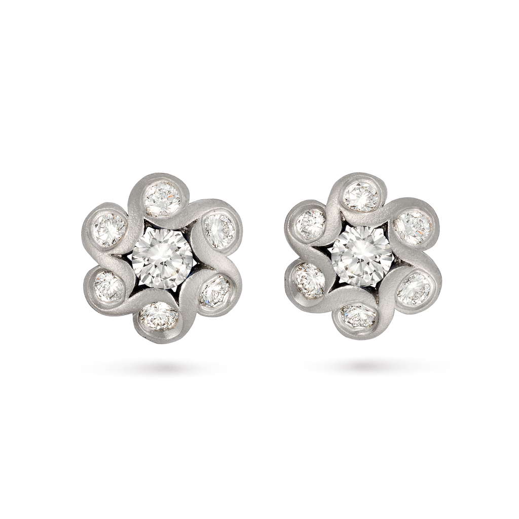 Contour Diamonds and White Gold Flower Earrings by Diana Vincent