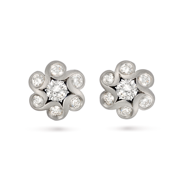 Contour Diamond and White Gold Floret Earrings