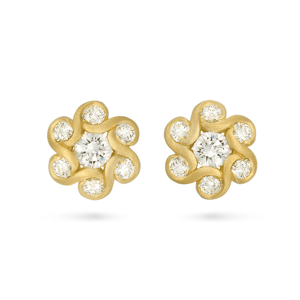 Contour Diamond and Yellow Gold Floret Earrings