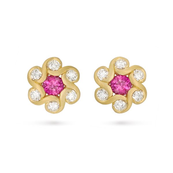 Contour Pink Sapphire & Diamond Flower Earrings by Diana Vincent