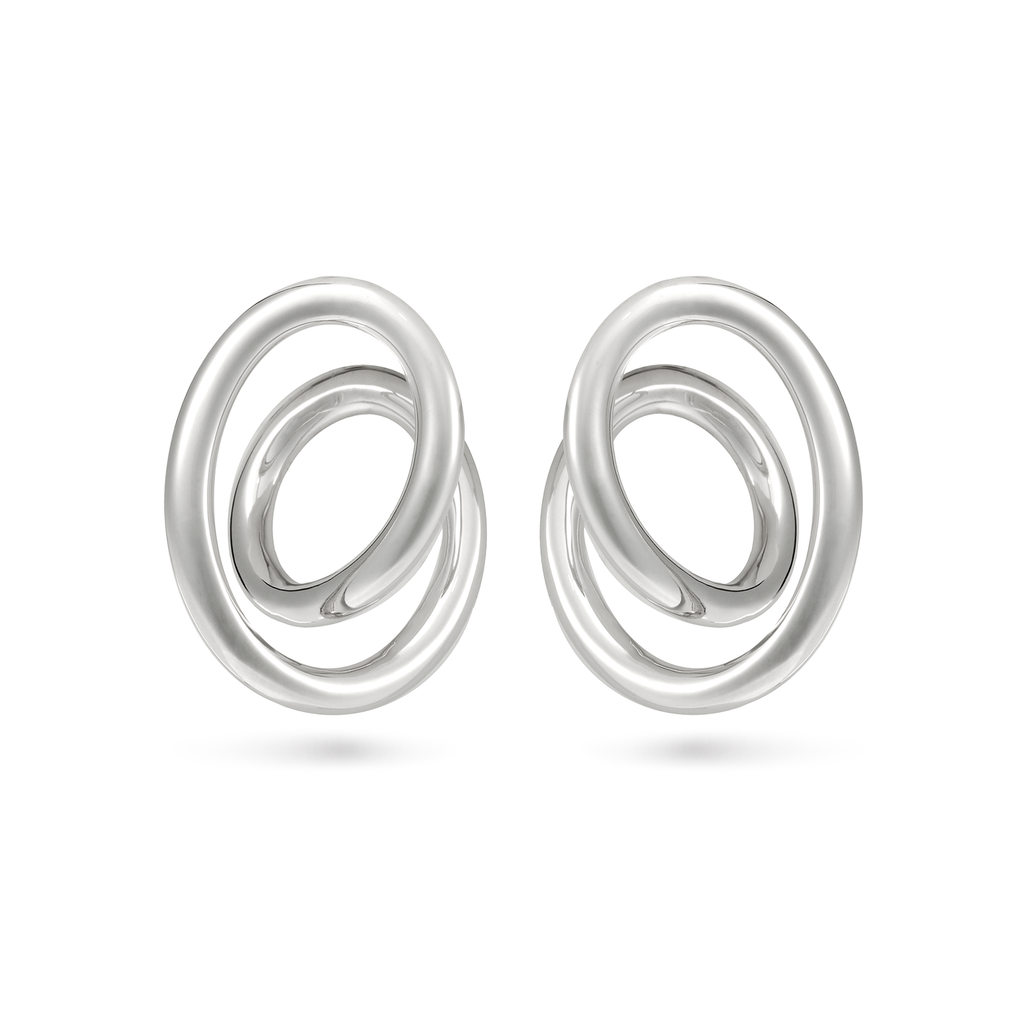 Contour Large White Gold Swirl Earrings by Diana Vincent