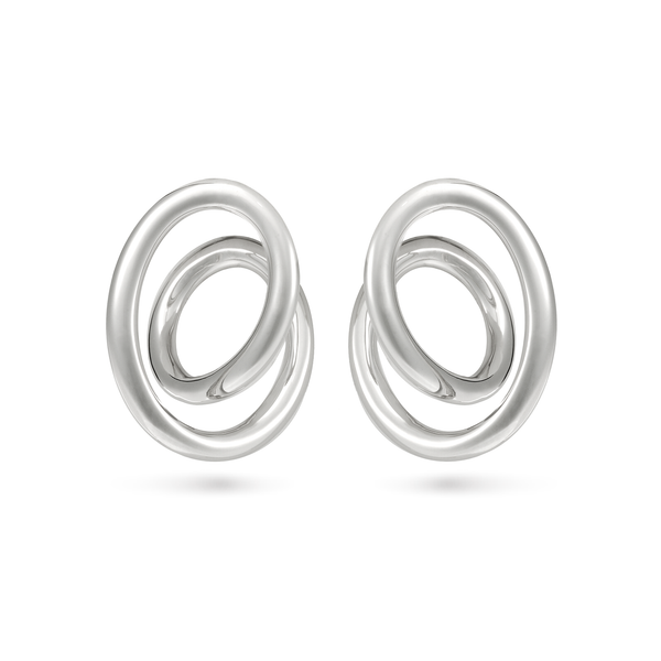 Contour Large White Gold Swirl Earrings