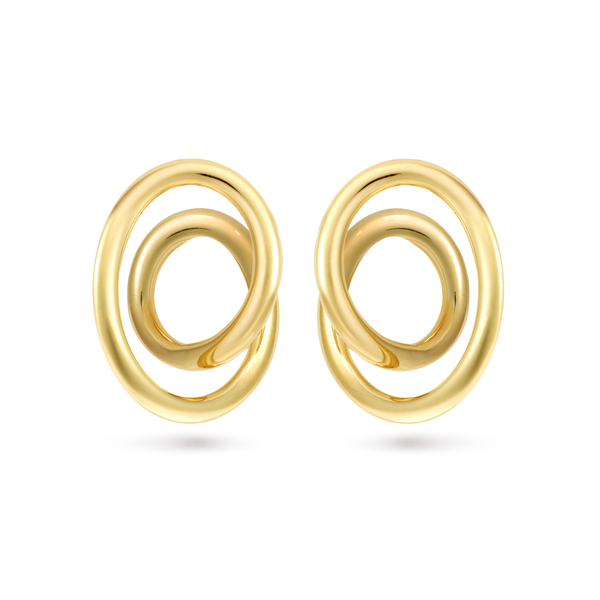 Contour Large Yellow Gold Swirl Earrings