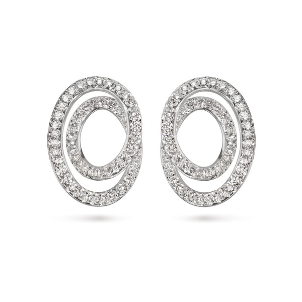 Contour Large Diamond and White Gold Swirl Earrings
