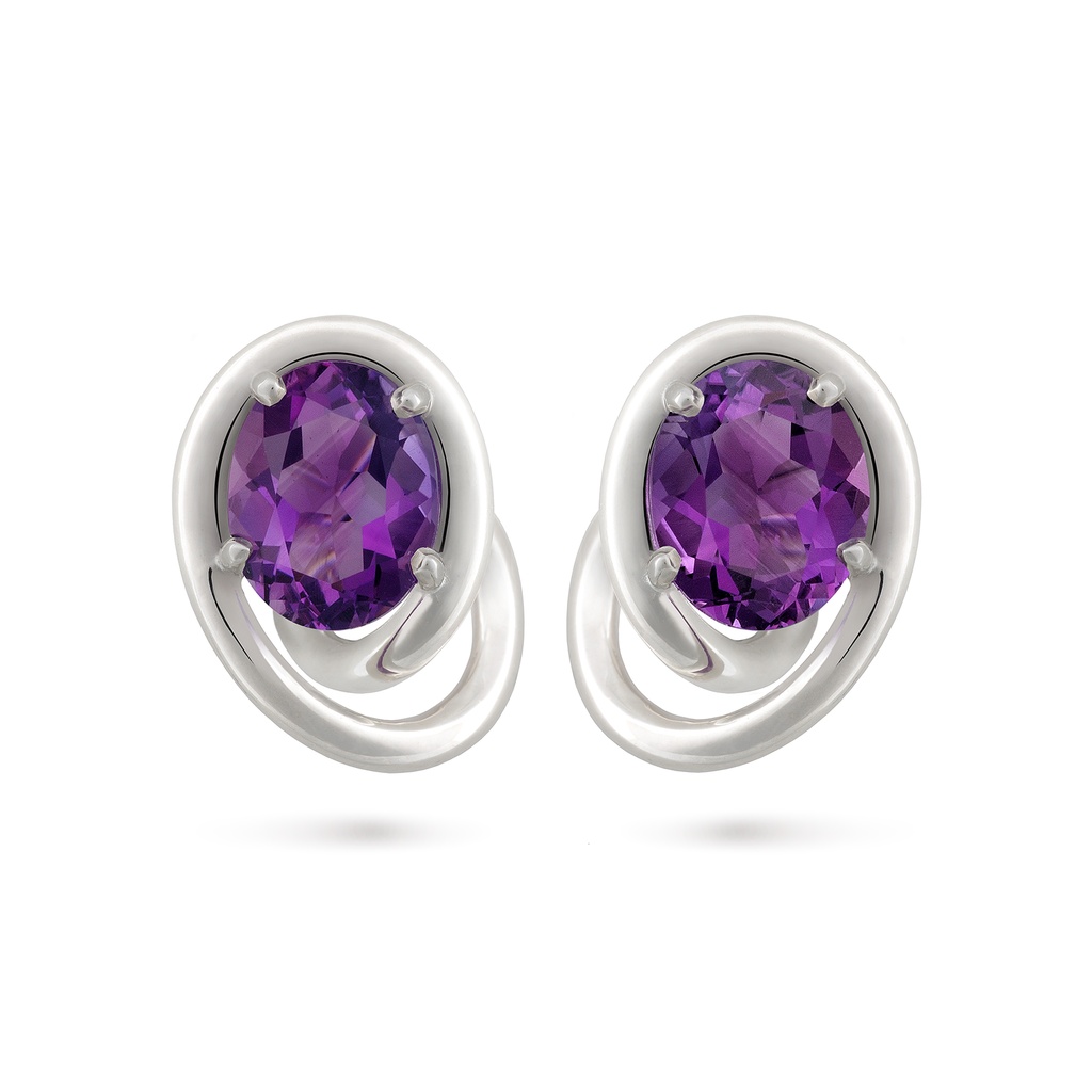 Contour Swirl Oval Amethyst Gemstone and Sterling Silver Earrings by Diana Vincent