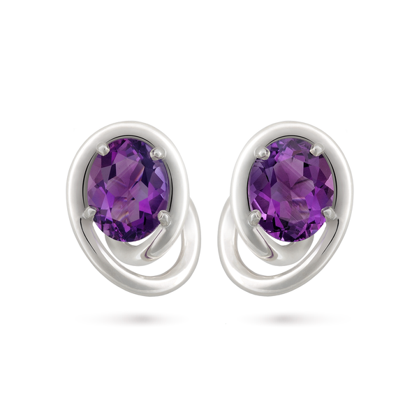 Contour Swirl Oval Amethyst and Sterling Silver Earrings