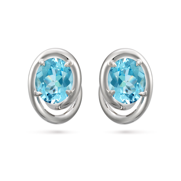 Contour Swirl Oval Blue Topaz Gemstone and White Gold Earrings by Diana Vincent